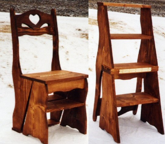 Wood Combo Chair: Amish Solid Wood Library Step Stool Chair Combo Plans DIY